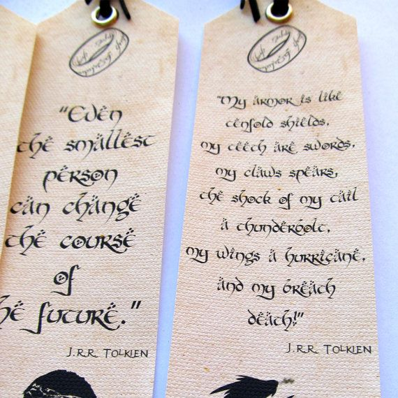 Hobbit Bookmarks 4 to choose from Tolkien quotes Unique
