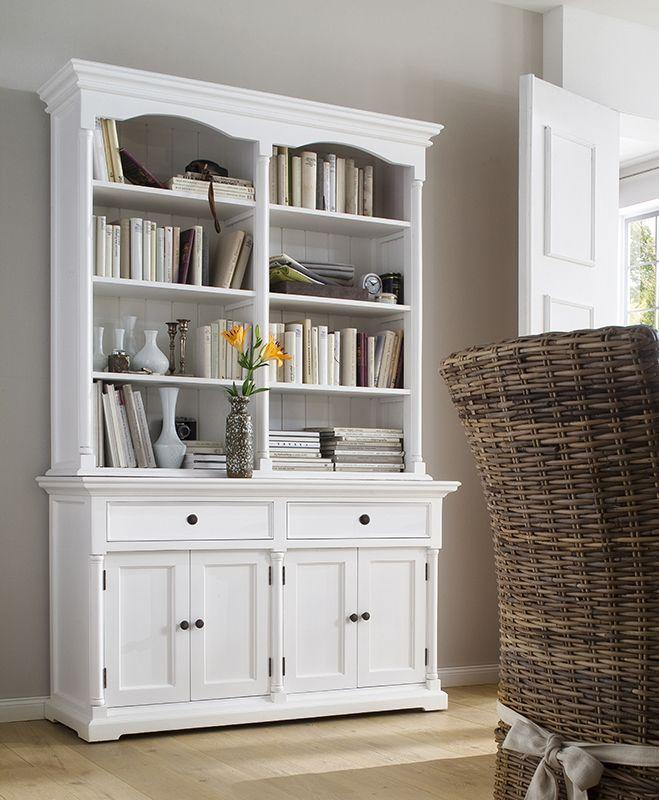 Witte buffetkast Cottage. 4 Deuren, twee lades en 8 open vakken voor al je boeken of serviesgoed. https://www.meubelen-online.nl/Buffetkast-wit-deuren-en-open-vakken-Cottage