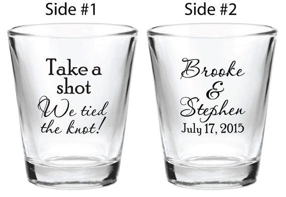 NEW 144 Personalized 1.5oz Wedding Favors Glass Shot Glasses Take a shot We tied the knot! Custom Design 2015