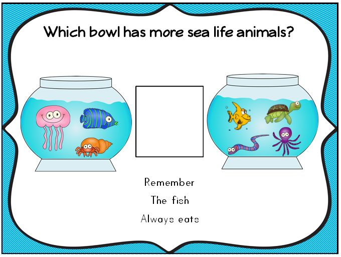 More than-less than center mat- part of a large 240 page package of under the sea consisting of printables, center games, flash cards, math and literacy activities. http://www.teacherspayteachers.com/Product/Under-The-Sea-Sea-Life-Literacy-and-Math-Fun-Printables-Games-Activities-1122248