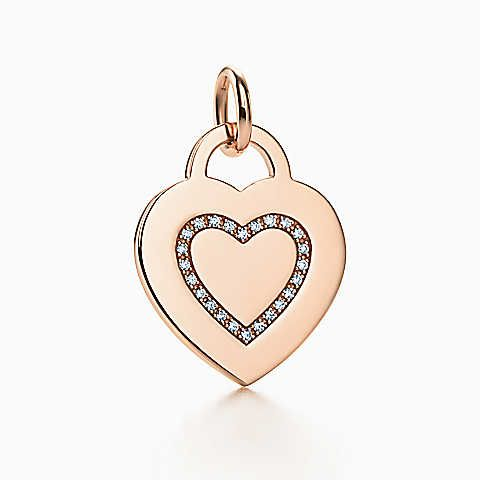 Alphabet heart tag letter H charm in 18k rose gold Letters A-Z available - Size H Tiffany & Co. 5nDiA