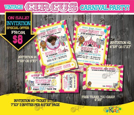 Pink Circus Invitation Vintage Circus Birthday by ItsAllAboutKidz