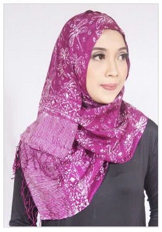 Contoh Model Hijab Batik Modern Terbaru 2016