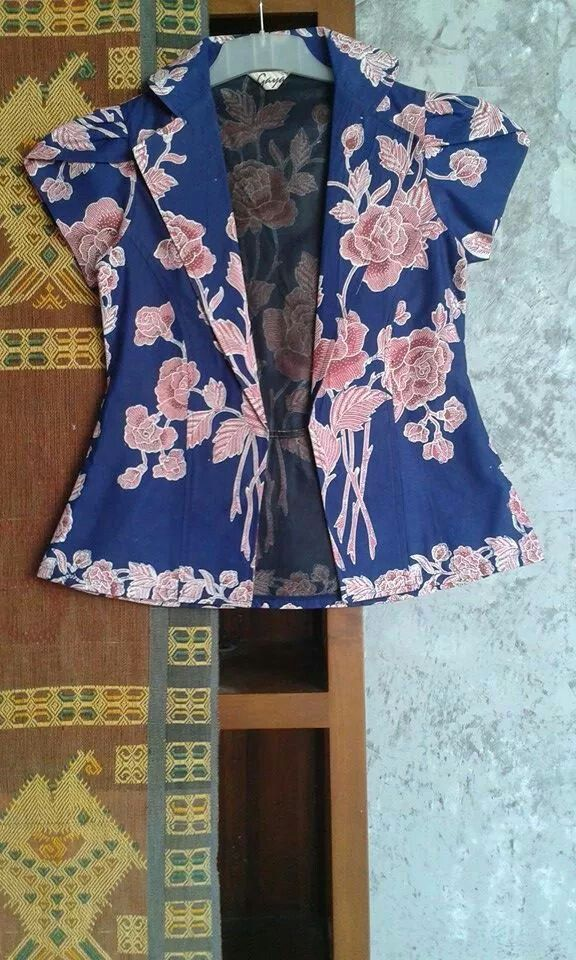 blazer batik with short sleeve