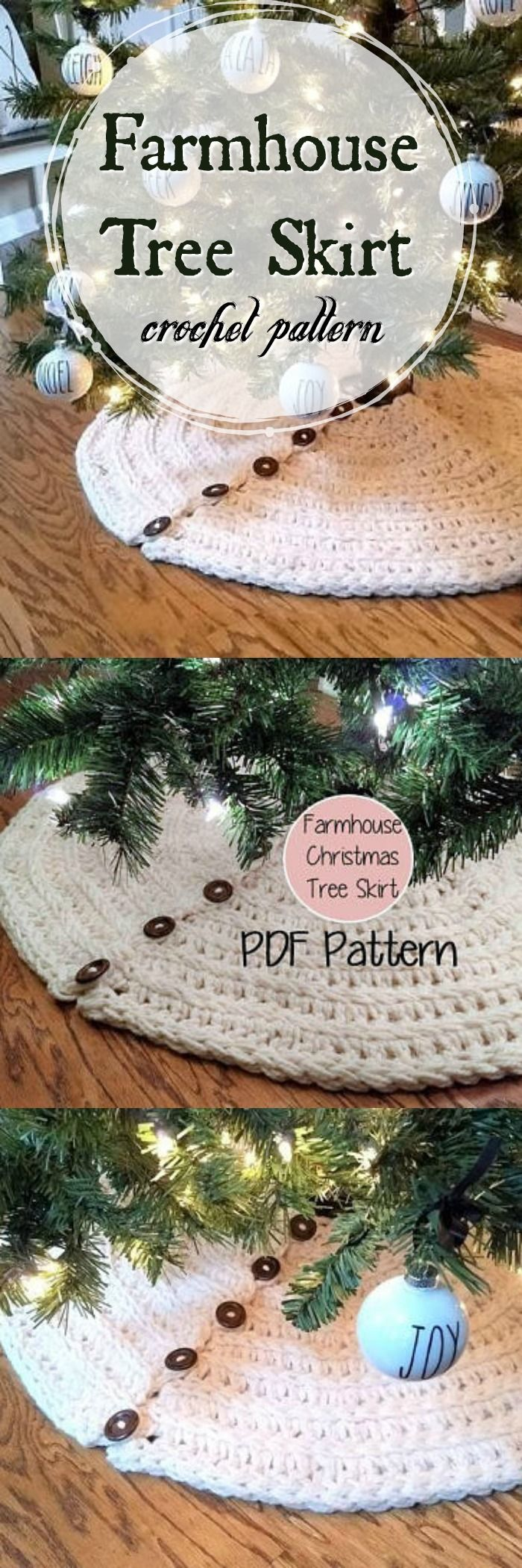 Farmhouse Christmas Tree Skirt crochet pattern. I love the buttons! This rustic tree skirt looks like it would crochet up quickly with chunky or bulky yarn! Still time before Christmas! #holiday #pattern #crochet #farmhousestyle #RusticChristmas #decor #affiliate #etsy