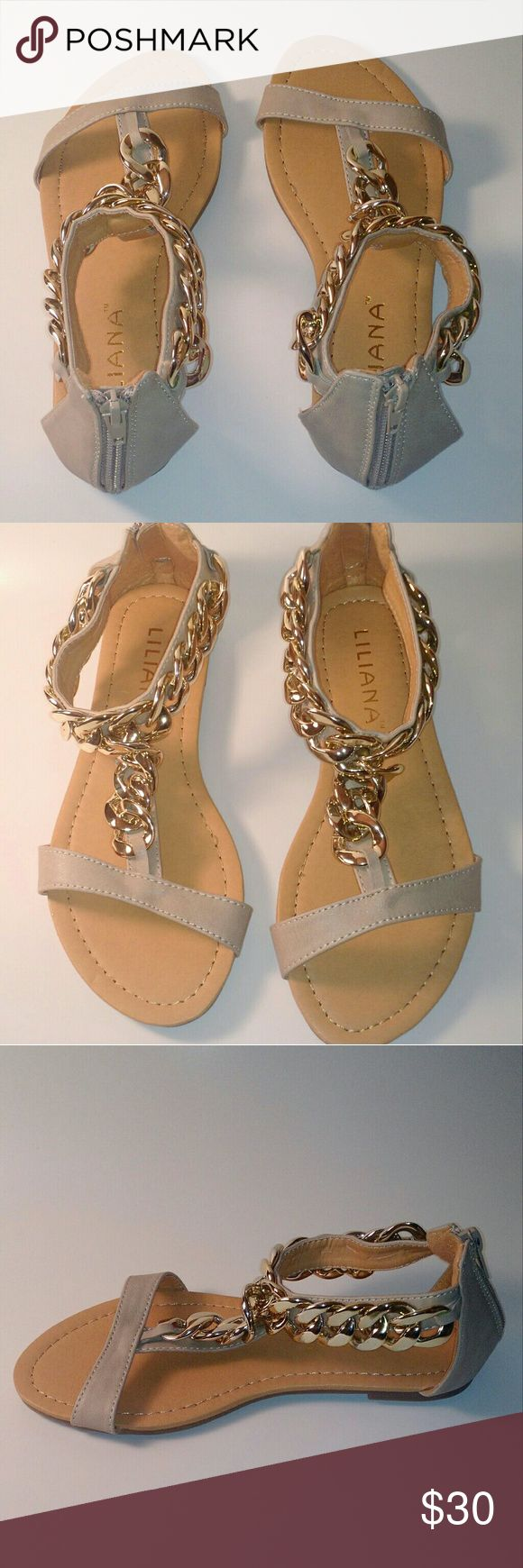 🚨1 HOUR SALE! CHAIN FLATS Beige faux leather material. Thick gold chain detail. Zip back closure. Shoes Sandals