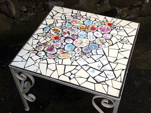 Mosaic table by Anna Tilson--I usually hate these little insignificant tables but this isn't bad at all.