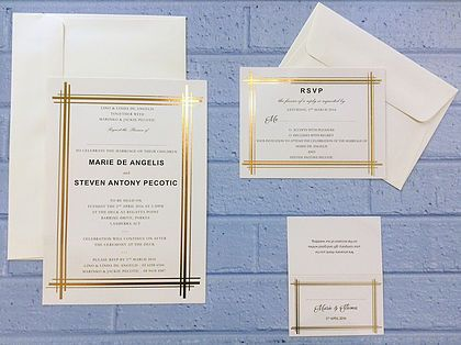 Marinko Art Deco Invitation suite gold foiled on cream card