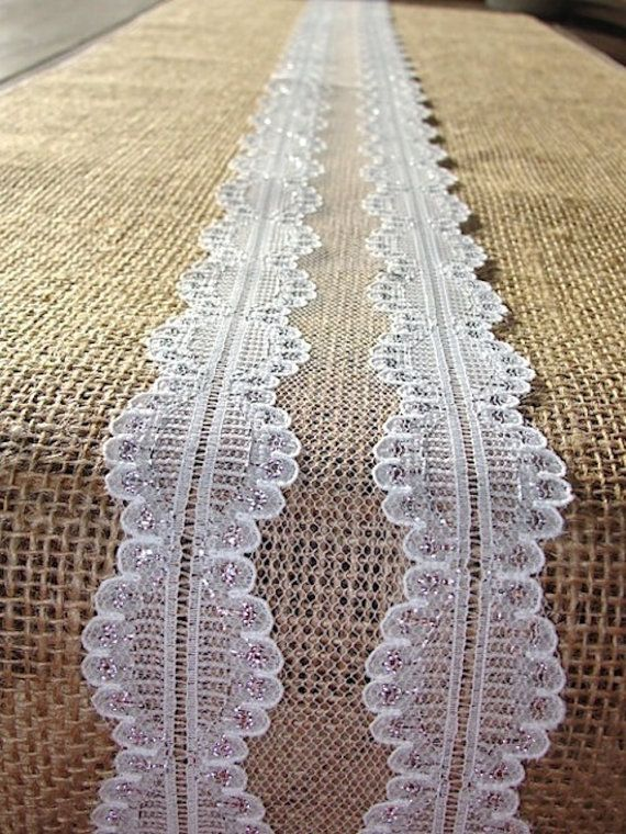 Burlap And Lace Table Runner Shimmering Wedding By HotCocoaDesign