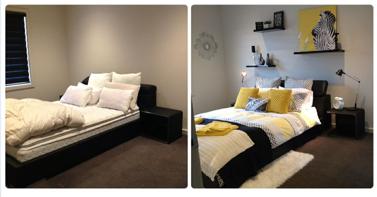 Before and after shot of my bedroom makeover on a friends house.