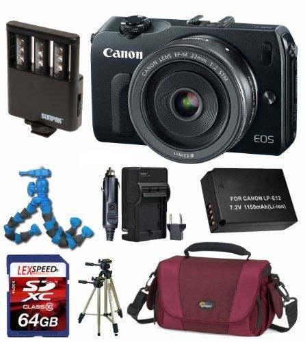 Canon EOS M EOSM EOS-M w/ Canon EF-M 22mm f/2 STM Lens + Battery + Travel Charger + Video Light + 64GB (10) Memory Card + Lowepro Bag + Giotto's Blower + Nikon Pen Cleaning System + Flexpod + Tripod by Canon. $749.00. The Willoughby's  EOS M Kit includes:  1. Canon EOS M Digital Camera Body, 18.0 Megapixel CMOS (APS-C) sensor. 2. Canon EF-M 22mm f/2 STM Lens. 3. LexSpeed 64GB SDXC Class 10 Memory Card. 4. Lowepro Deluxe Padded Camera Bag. 5. Battery Pack LP-E12 6...