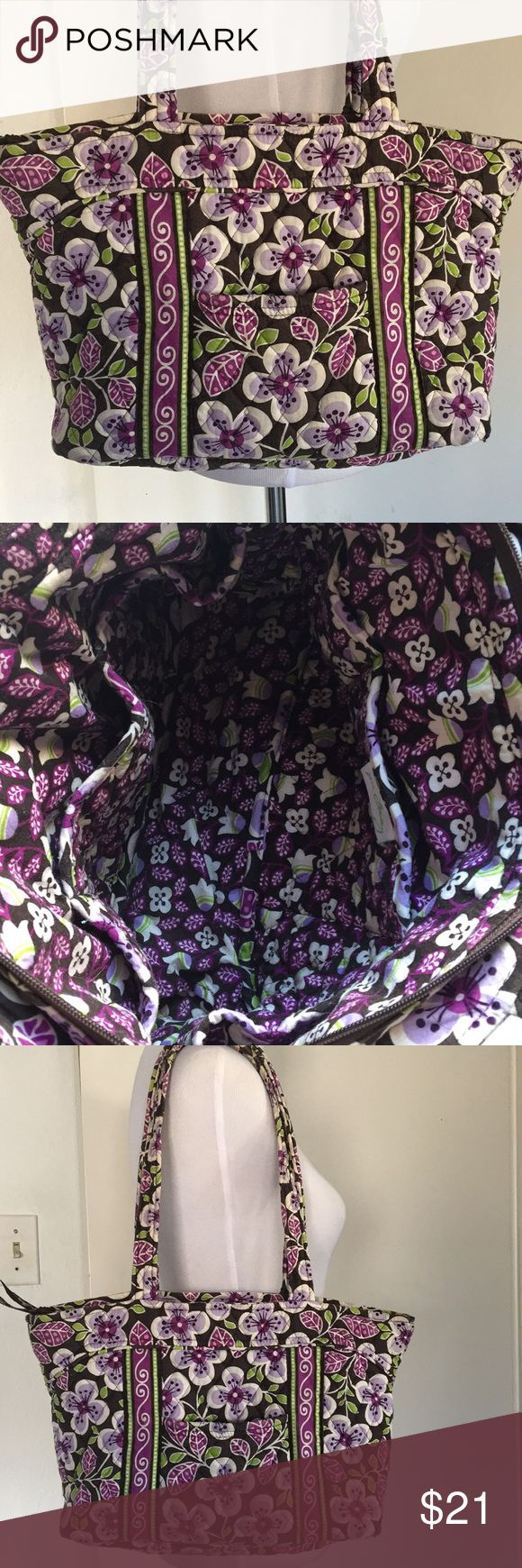 "Vera Bradley Plum Petals Zip Purse Small tote bag Really nice used condition- wear visible on straps (underside) and at bottom right corner (see close up)  Inside excellent- 6 interior skip pockets.  Top zip, front slip pocket.  Strap drop 10"" 15"" W 9.5"" L 2"" D Vera Bradley Bags Shoulder Bags"