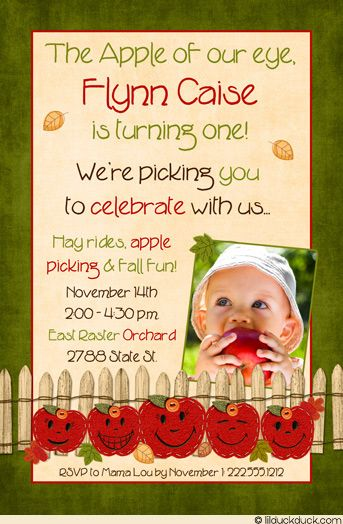 Apple Orchard Birthday Party Invitation - Sweet Colorful Leaves Fall