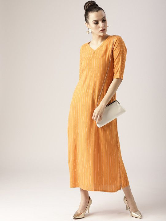 b3a6b8aeaed Libas Women Mustard Yellow Striped Maxi Dress -