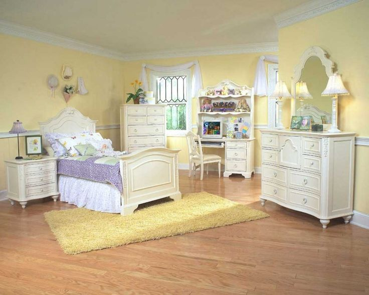 Scenic Childrens Bedroom Interior Design Ideas With Yellow Soft Color Wall Paint And Classical Furnitures Themes In White Color Nuance Also Yellow Fur Rug And Wood Floor Ideas - Use J/K to navigate to previous and next images