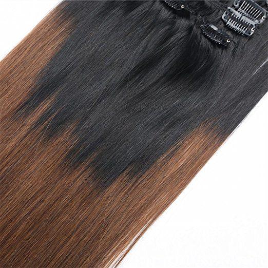 Amazon Furice 7pc Set European Hair Clip In Ombre Brown Human