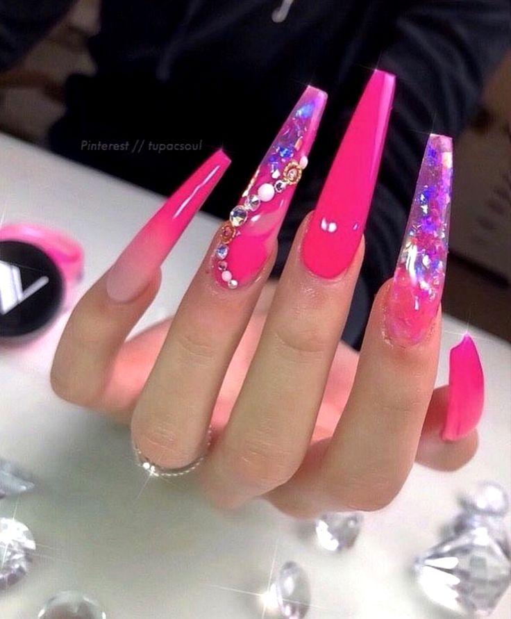 tadiorx 🌟   Long acrylic nails, Long square acrylic nails