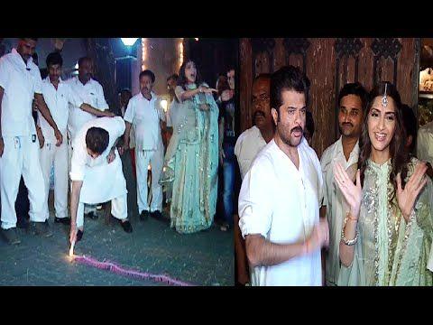 Anil Kapoor and Sonam Kapoor celebrating Diwali 2014.