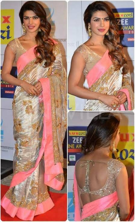Priyanka Chopra scores major style points in JADE's tissue hand-embroidered sari at the Zee Cine Awards! #JADE #JADEbyMK #PriyankaChopra