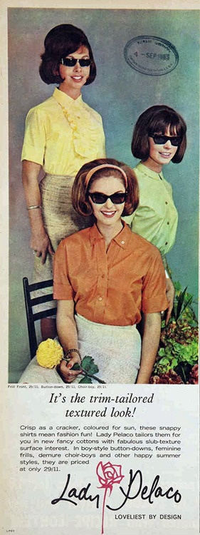 Lady Pelaco, 1963 - early 60's bob cuts This photo is just funny to me.