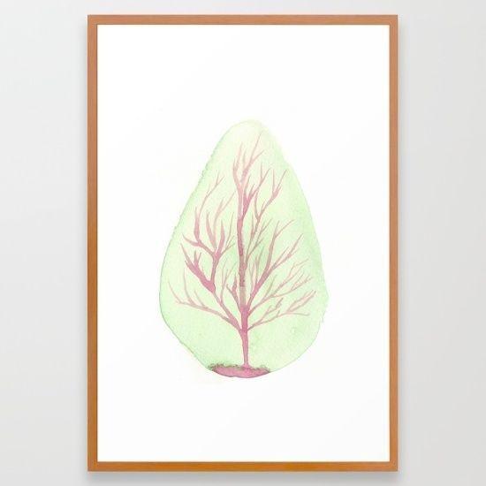 TREE 26 x38  Large FRAMED Watercolour Minimal Fine Art Giclee Print Home Decor