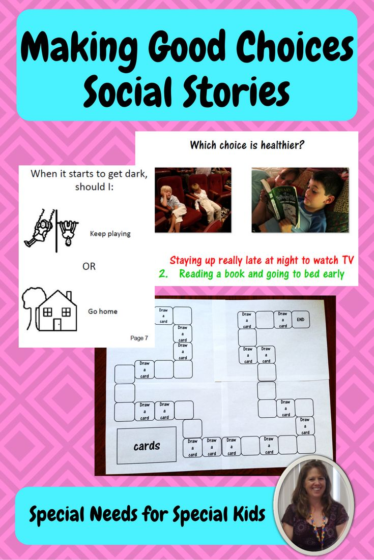 Get this 49 page social story unit for students with autism and special learning needs.  It centers on how to make a good choice when there is not an adult to help you.  Included are 2 social stories (one with photos, one in BW), sorting activity, and game with printable board and playing cards (2 levels:  for readers, and non-readers).  A great unit for elementary, middle AND high school students.