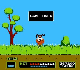 NES Duck Hunt video game screenshot ft. the laughing hunting dog
