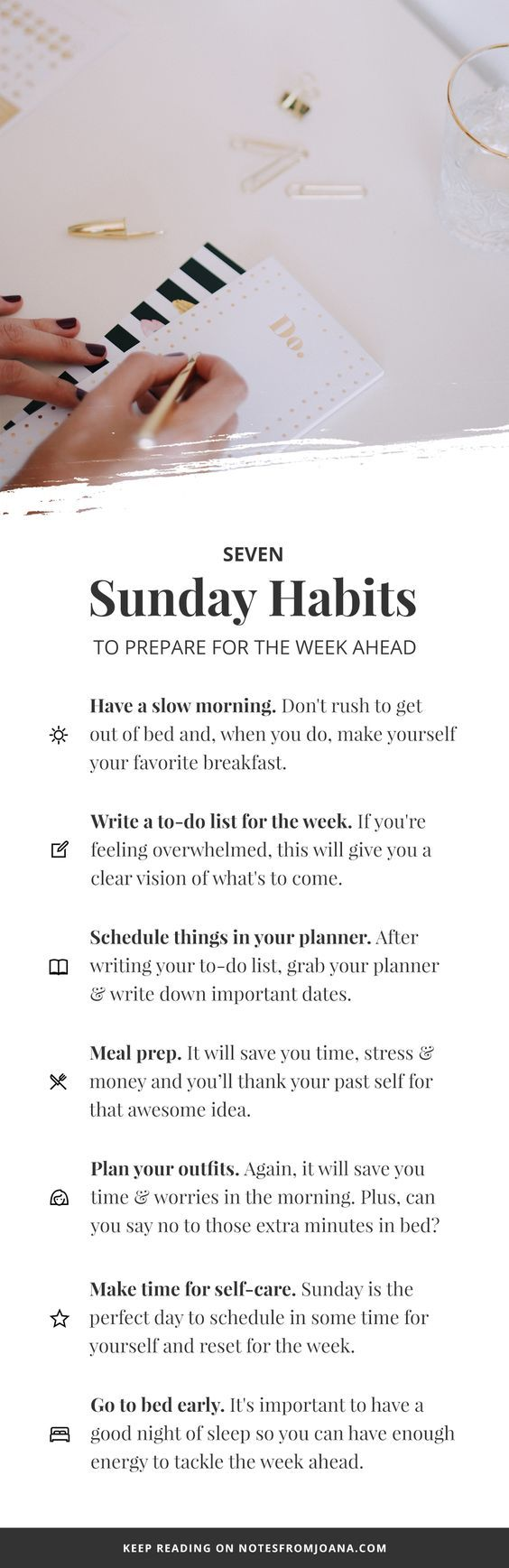 7 Sunday Habits To Prepare You For The Week Ahead // Notes from Joana