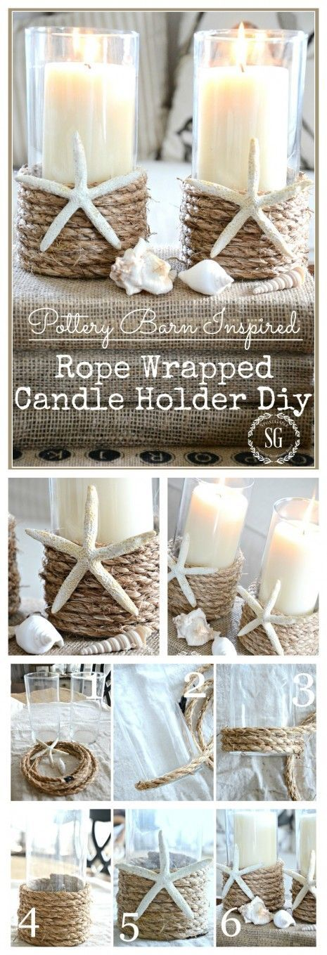 POTTERY BARN INSPIRED ROPE WRAPPED CANDLE HOLDER DIY  A beach chic candleholder that is easy to make and very inexpensive!