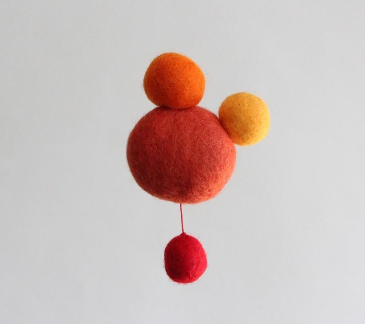 Orange Atomic brooch (wool)