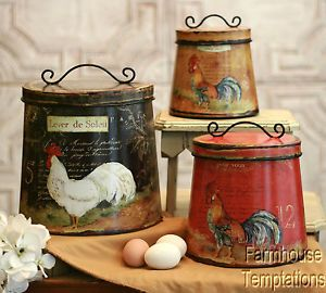 Must get these for the kitchen! COTTAGE ROOSTER CANISTER SET Shabby FRENCH COUNTRY Chic TIN Tuscan KITCHEN Decor