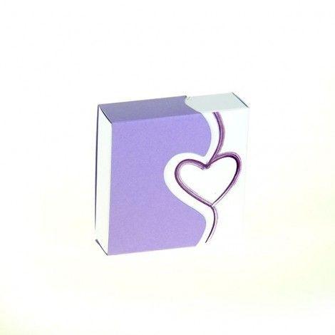 Estuche para dulces corazón púrpura (x4)
