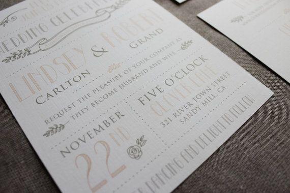 Vintage Modern Wedding Invitation Template -Printable DIY Wedding Invitation. (1003)