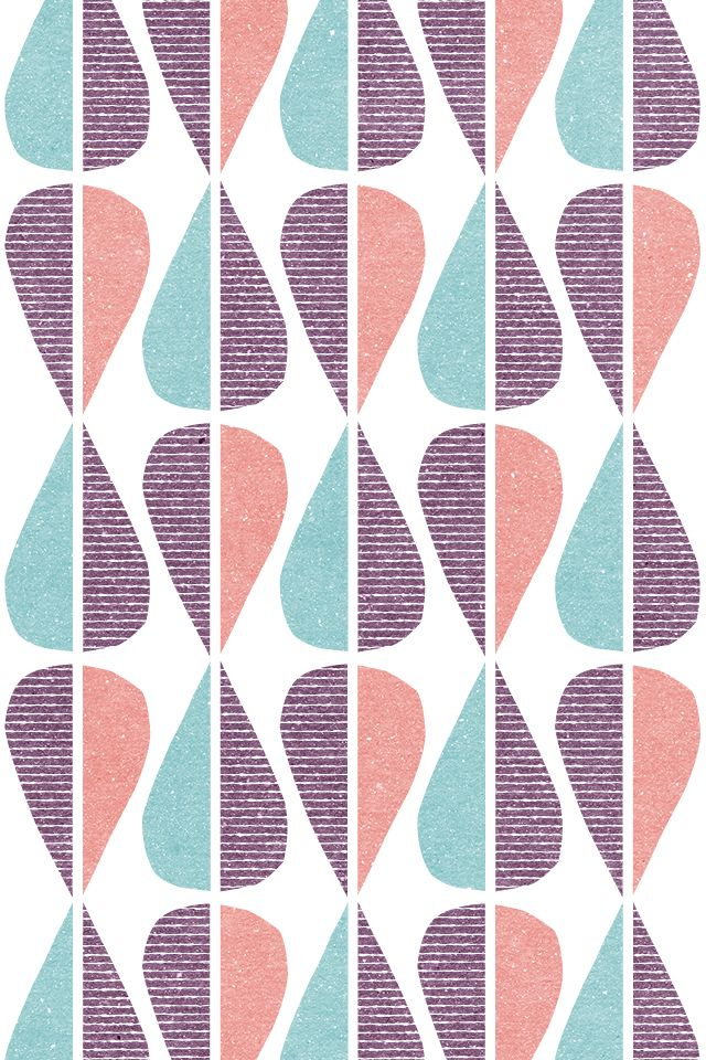 This is an example of PATTERNS. It is a regular repetition of teardrop shapes split in half and every other whole drop is upside down and with a different color. A viewer could easily continue the sequence and have the knowledge to understand which teardrop was next. The texture of the teardrops create drama that is appealing and it doesn't make the viewer dizzy after looking at it.