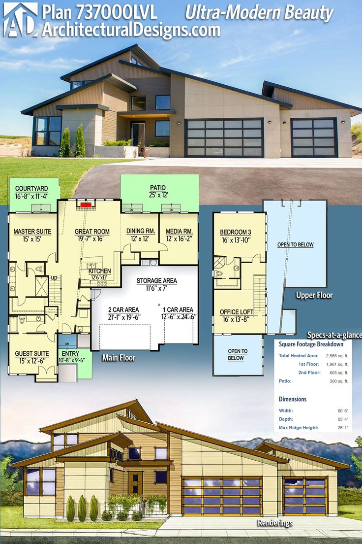 Architectural Designs House Plan 737000LVL has a gorgeous ultra-modern design with a highly functional floor plan. This plan gives you over 2,500 SF heated living space with 3 beds and 3 full baths. Ready when you are. Where do YOU want to build? #adhouseplans #architecturaldesigns #houseplan #architecture #newhome #newconstruction #newhouse #homedesign #dreamhome #dreamhouse #house #architecture#architect #housegoals #modernstyle #modernhouse #modern