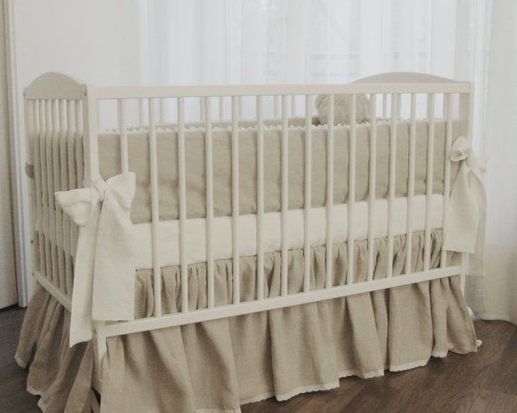 Linen crib  bedding 3 pcs- gathered skirt , 4 side bumper and fitted sheet, undyed linen, ptewashed linen