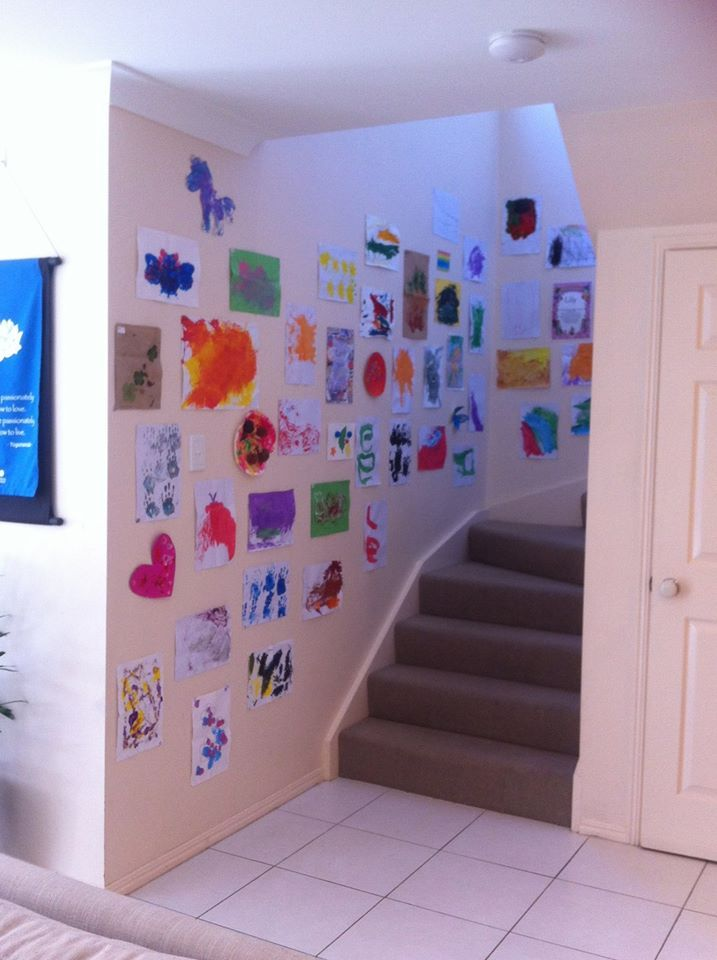 Fun way to display the kids artwork and bring colour to the home