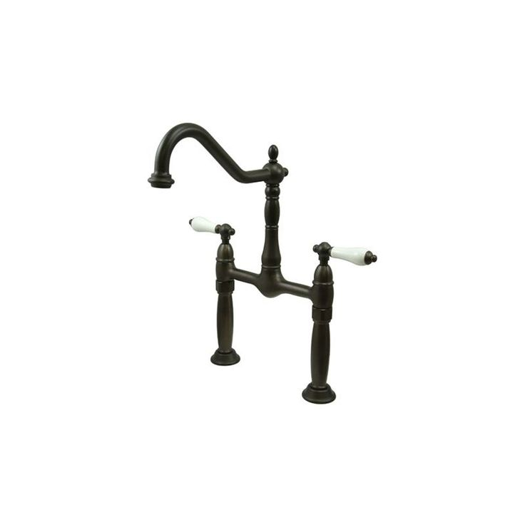 Kingston Brass KS107.PL Victorian Vessel Faucet with PL Porcelain Lever Handles Oil Rubbed Bronze Faucet Lavatory Double Handle
