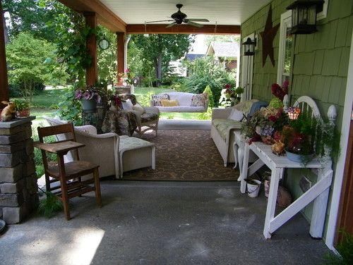 Under Deck Patio Design - keep the swing and do away with the tall shrubs