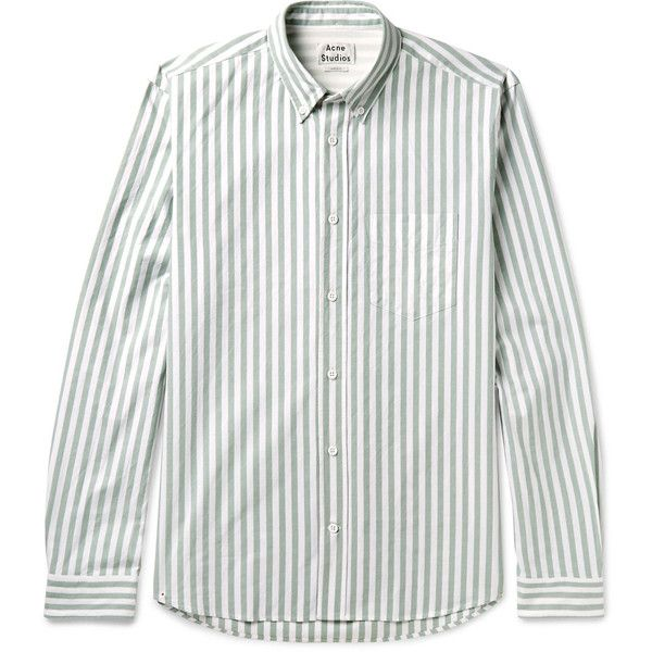 Acne Studios Isherwood Button-Down Collar Striped Cotton Oxford Shirt ($300) ❤ liked on Polyvore featuring men's fashion, men's clothing, men's shirts, mens striped shirt, mens white oxford shirt, mens cotton shirts, mens oxford shirts and mens white button down collar shirts