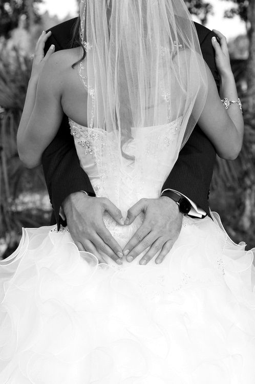 """Normally I'm not a fan of the """"hand heart"""" pictures, but I do love this one - plus I just love this as a simple Wedding Pic too!"""
