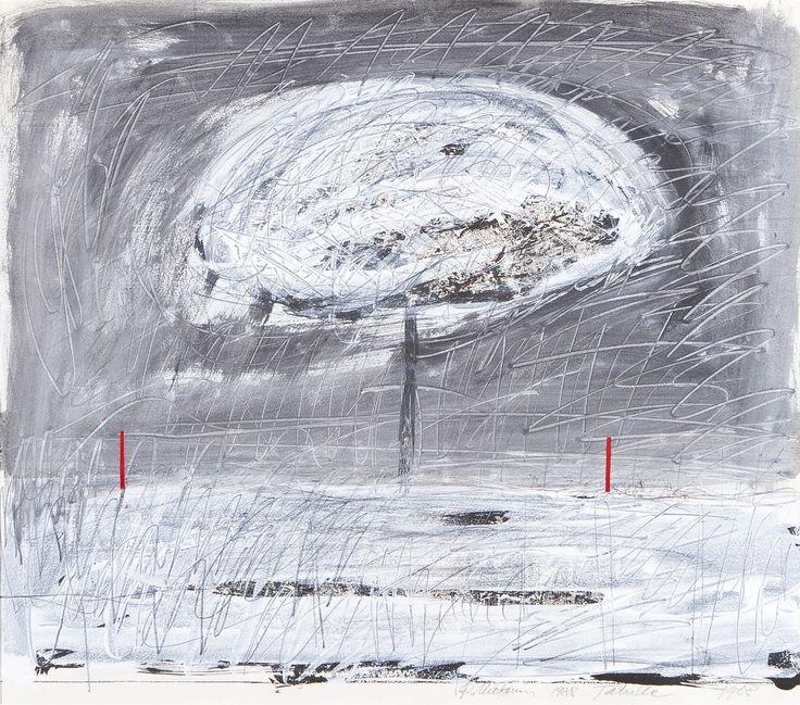 Reino Hietanen,1988, sekatekniikka, omistus Tatulle, 52x60 cm - Hagelstam A137