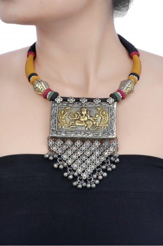 Amrapali: silver dual tone Ganapati thread necklace