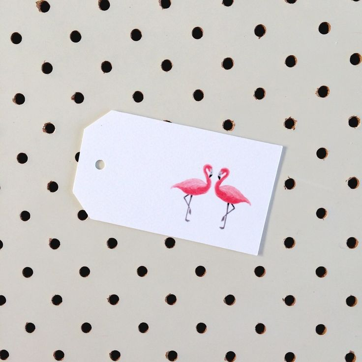 Pink flamingoes gift tag.Printed on high quality felt card stock.