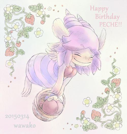 遅れちゃったけどペシュちゃん誕生日おめでとうでした!いつかいちご狩りをしている彼女の絵が描きたいです