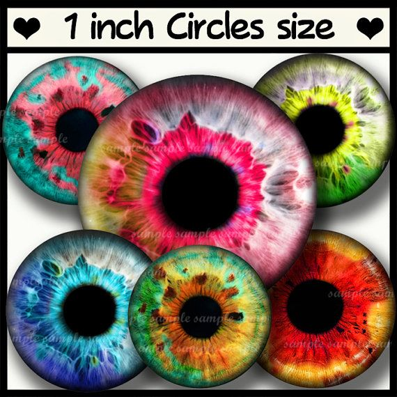 INSTANT DOWNLOAD Colorful Eyes 721 4x6 1 inch round Bottle