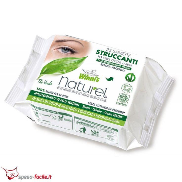WINNI'S NATUREL SALVIETTINE STRUCCANTI. Ideali per detergere naturalmente viso, occhi e labbra rimuovendo trucco ed impurità.