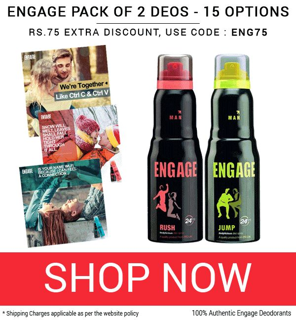 Deobazaar is offering Engage Drizzle, Spell Pack of 2 Deodorants Rs. 350/- Only How to catch the offer: Click here for offer page Add Productin your cart Login or Register Fill the shipping details Make final payment