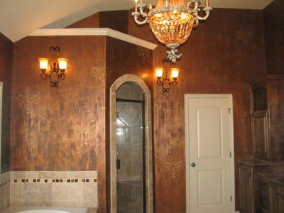 Copper Toned Faux Finish Bathroom · Faux PaintingStencil PaintingWall Paint  ...