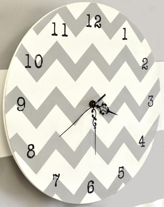 Chevron Clock in Gray - http://www.theboysdepot.com/chevron-clock-in-gray.html